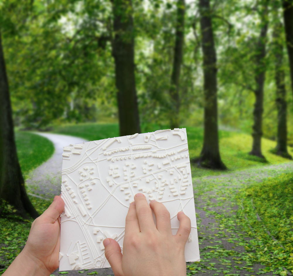 Touch Mapper 3d printed tactile map in use